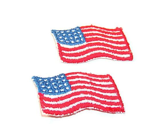 USA Flag Patch, American Flag, Applique, Patch, Military Applique, Red, White, Blue, Red White Blue, Embroidered, Vintage