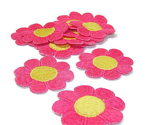 Flower Applique, Pink Flower Applique, Hippie Flowers, 1960s Flowers, Embroidered Applique, Yellow, Pink, Patch, Lot of 10, Yellow and Pink