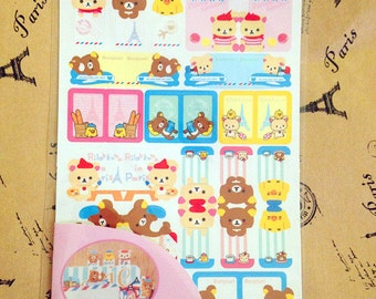 4 sheets Kawaii San-X Rilakkuma Relax Bear Sanrio Deco Index Sticker Set