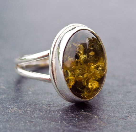 Green Amber Ring in Sterling Silver. Amber Ring