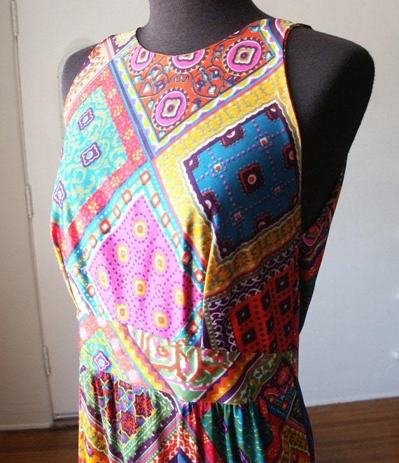 Vintage 70's Maxi Dress, Hippie Boho Chic, Paisley Floral, Bright Pink, Orange Green, Turquoise, Multicolor, Size Small to Medium