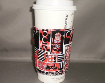 Coffee Cuff - Reusable Coffee Cup Sleeve - Coffee Cozy - Cafe au Lait - Red, Black, White