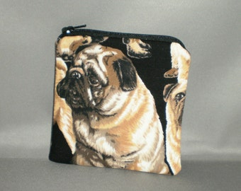Coin Purse - Gift Card Holder - Card Case -Small Padded Zippered Pouch - Mini Wallet - Pug - Dog