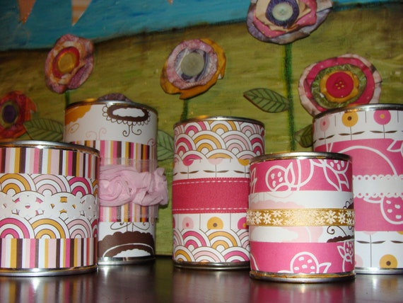 "Recycled/Upcycled Can Office Organizers - Set of 5 ""Pretty in Pink"""