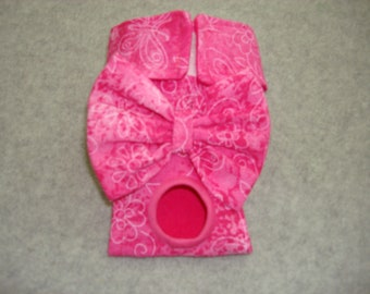 Hot Pink Female Dog Diaper / Panties - Flowers and Butterflies -Available in all sizes