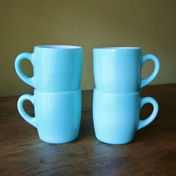 Vingtage Set of 4 Hazel Atlas Glass Coffee Mugs - Turquoise