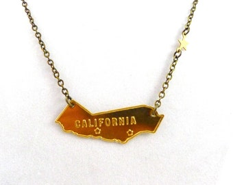 Vintage California Necklace, CA State and Star Necklace, San Francisco, Los Angeles,  Handmade Jewelry