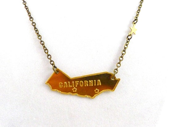 Items similar to vintage california necklace ca state and for San francisco handmade jewelry