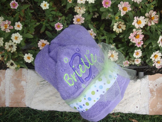 Baby and  Children's Hooded Towel Personalized with embroidery on purple towel