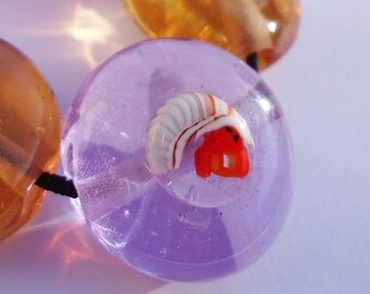 Hermit Crab handmade murrini, lampwork supplies, CoE 104