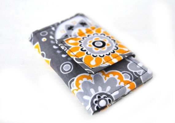 SALE Golden Yellow Flowers Mini Wallet and Business Card Case - White Yellow and Black Flowers