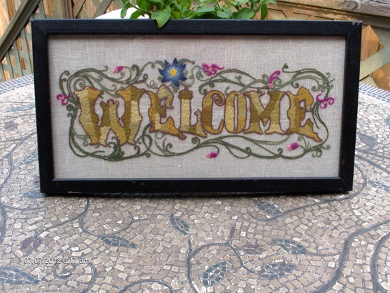 Vintage Framed Hand Crewel/Embroidered Welcome Wall Hanging - Lovely