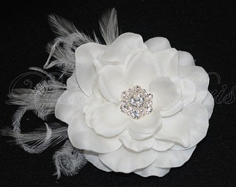 BM10 - Bridal Natural White Hair Flower with Rhinestones Center and Feathers  Accents.Bridal Hairpiece