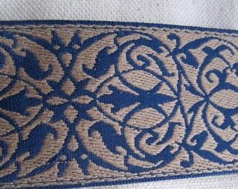 Garden Gate pattern belting  Tan and NAVY blue