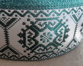Geometric  Octagon jacquard ribbon SILVER  and GREEN