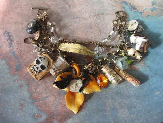 Off to Neverland no 19.vintage peter pan tinkerbell  assemblage fantasy charm  bracelet