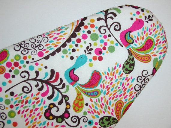 Ironing Board Cover - Peacocks and Flowers in Pinks, Blues and Greens.
