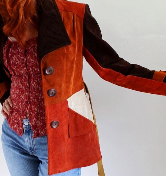 Sale - 1970s Patchwork Suede Jacket. Brown Cream Rust. Boho. Hippie. Fall Fashion. Size Medium