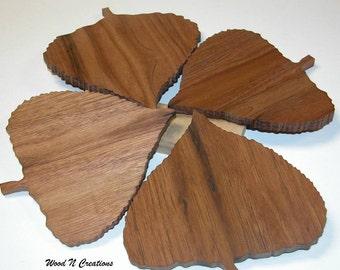 Coasters - Home Decor -  Bar Accessory - Set of 4 Leaf Shaped Coasters
