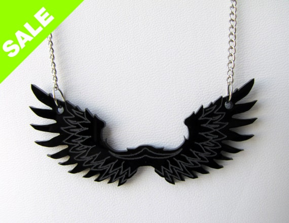 Pegasus wings Necklace. Black