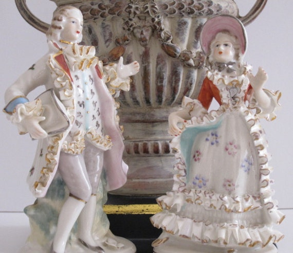 Vintage French Porcelain Figurines Porcelain By Hermajestyspug