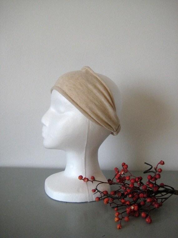 wide fabric headband stretchy knit tan natural BAD HAIR DAY fix comfy hair band