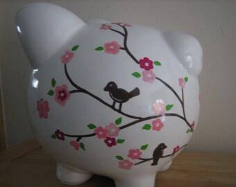 Personalized Large Cherry Blossom Piggy  Bank  -Newborns , Boys , Girls , Ring bearer, Flower Girl,Baby Shower Gift Centerpiece