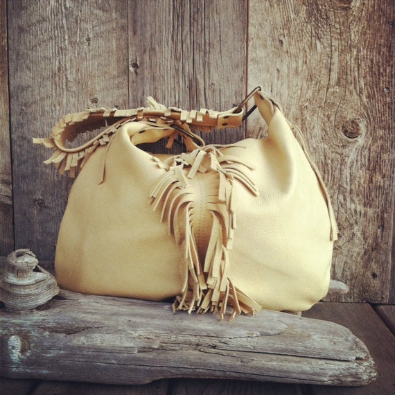 Sale The Sidney Leather Hobo Bag In Safari With Fringe