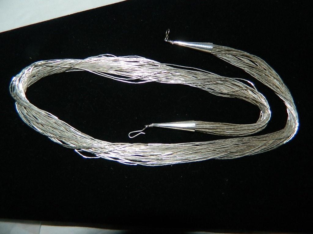 30 Strand Sterling Liquid Silver Necklace Vintage Navajo