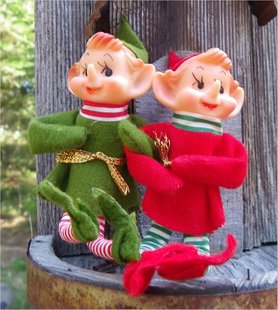 CHRISTMAS ELVES, Pair of Bendable Shelf Sitters, Made in Japan, Vintage Christmas Decor