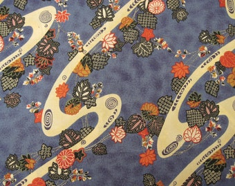 Blue Asian Print Fabric 1/2 yd.