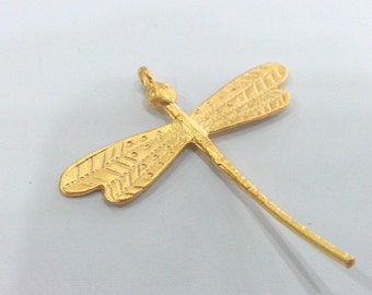 2 Pcs Dragonfly Pendant , Gold Plated Brass   G711