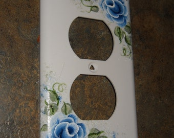 Shabby Cottage Chic Hand Painted Blue Rose Outlet Cover