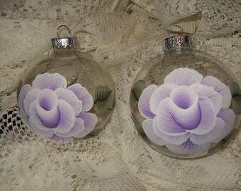 Victorian Lavender Rose HP Set of 4 Christmas Ornaments Shabby Cottage Chic New
