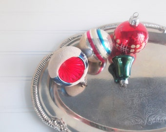 vintage christmas ornaments, mercury glass balls, indent ornament