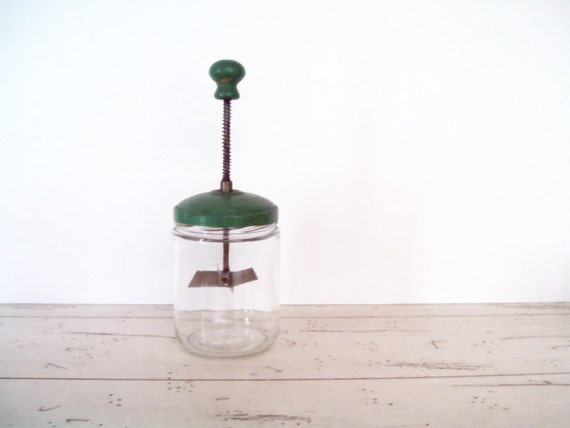 Vintage Chopper Glass Food Chopper Nut Chopper Green Metal Lid Glass Jar Lidded Chopper Retro Kitchen