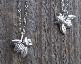 silver bee necklace, honey bee, bumble bee, bridesmaid necklace