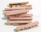 Clothespins.  Set of Ten. Coral Chevron