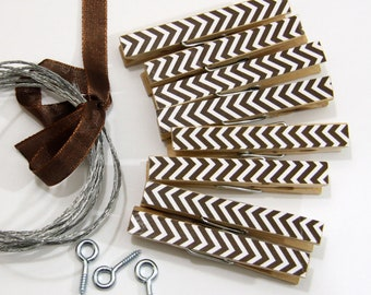 Clothesline Kit. Brown Chevron Clothespins and Hanging Wire