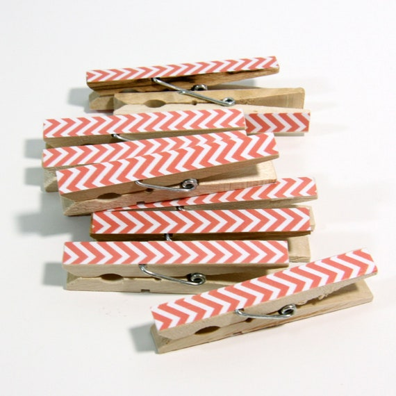 Clothespins.  Set of Ten. Coral Chevron