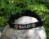Personalized Embroidered Dog Collar Custom made dog collar with name and phone number