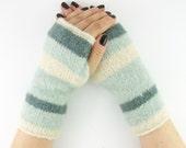 Knit gauntlets knit fingerless gloves wrists warmers fingerless mittens cream denim aqua mohair stretch curationnation