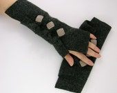 dark grey arm warmers fingerless mittens  wrists warmers arm cuffs fingerless gloves recycled wool fall eco friendly tagt curationnation