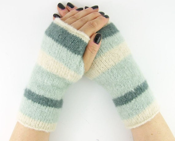 Knit gauntlets knit fingerless gloves wrists warmers fingerless mittens cream denim aqua mohair stretch curationnation