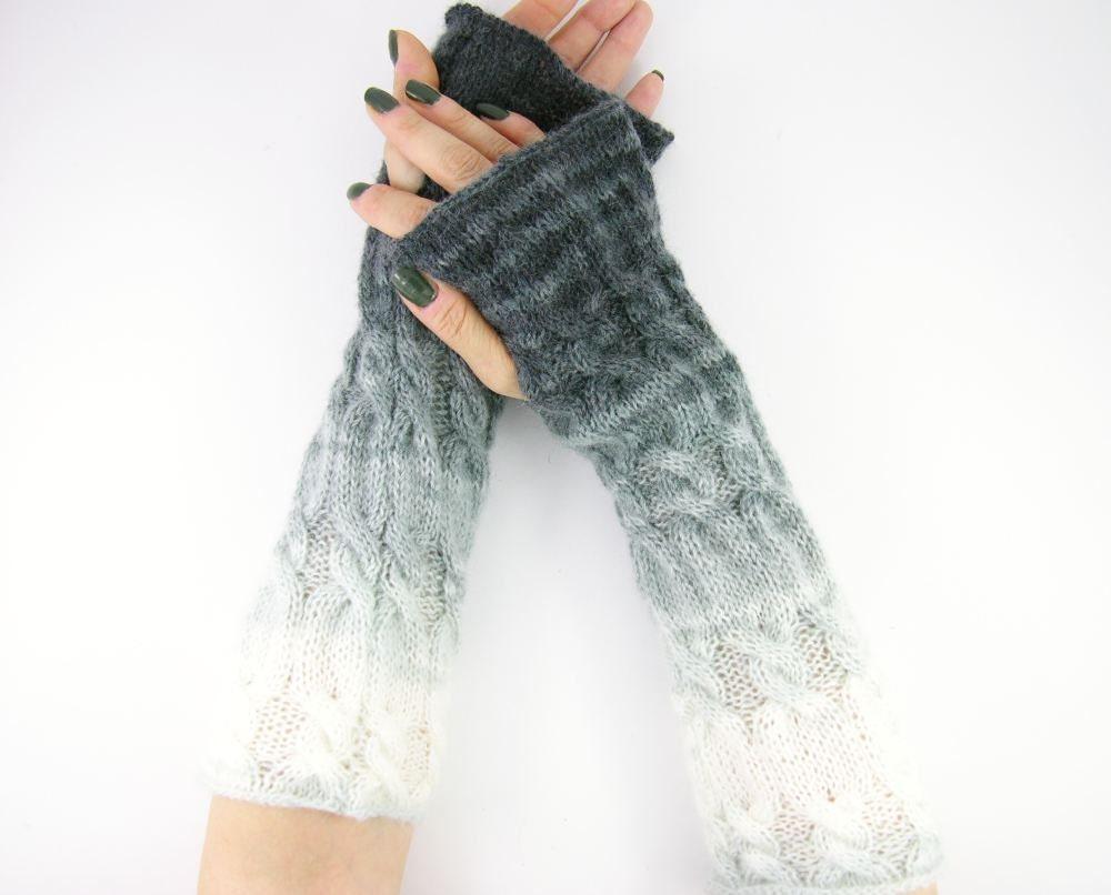 Knitting Pattern Long Gloves : long knit fingerless gloves knit arm warmers fingerless