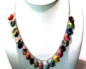 Jelly Bean Every Flavor Bean Charm Necklace on Chain-  Candy - Polymer Clay Food - Gifts Under 30, 50