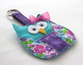 Clearance--Purple and teal Baby-owl keychain with bow
