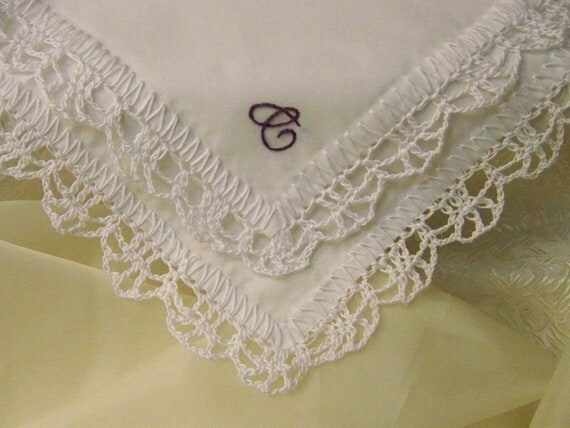 Custom Embroidered Ladies Handkerchief/ Hanky/ Ready to ship/ Crochet / Lace / Personalized