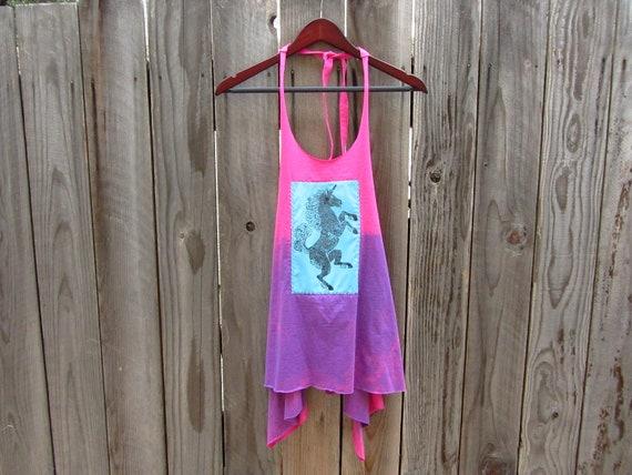 Unicorn Tshirt - Block Print Apron Tunic Tank Tshirt - Women Tops T-shirts - Upcycled Clothing - One Size Fits Most