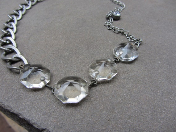 Repurposed Vintage Glass Chandelier Octagon Links Necklace - Upcycled Jewelry - Eco-Friendly